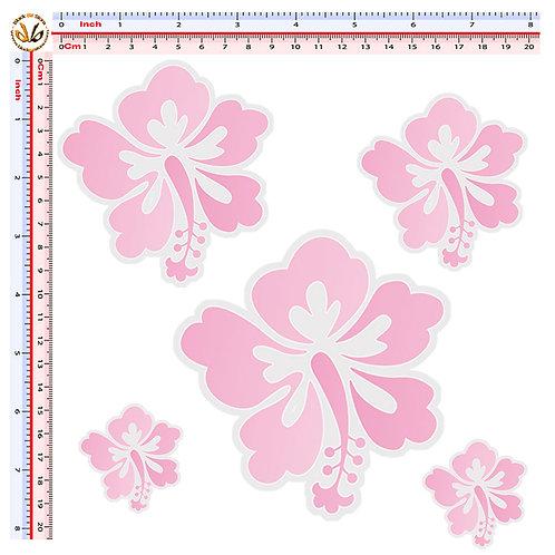 Sticker hibiscus flowers Adesivi fiori ibiscus 5 Pz.