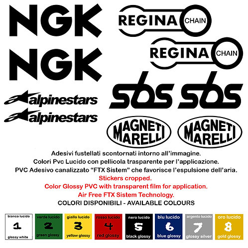 Sticker sponsor NGK SBS Alpinestar Marelli Regina Chain 10 Pz.