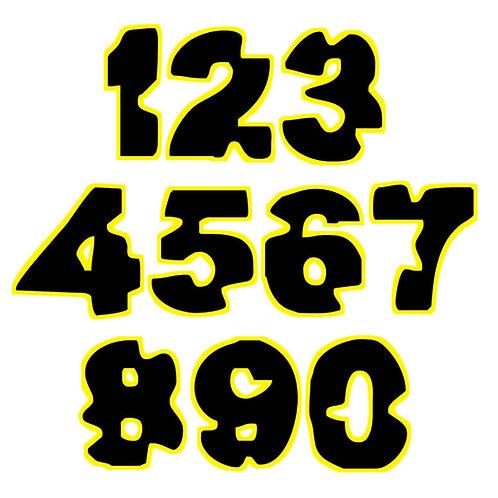 Adesivi giallo nero number black yellow sticker moto 2 pz. cm. 10-5