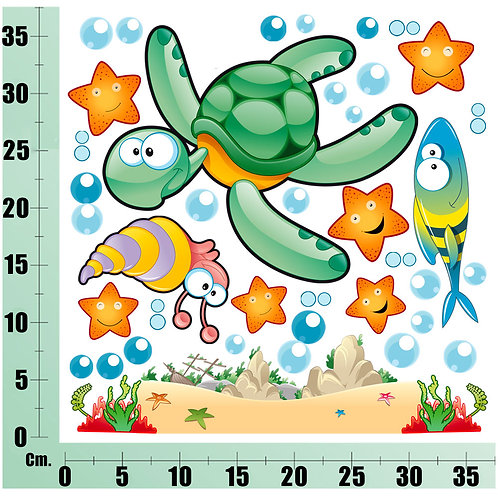 Kit Wall Stickers Tartaruga  Marina 30 pezzi