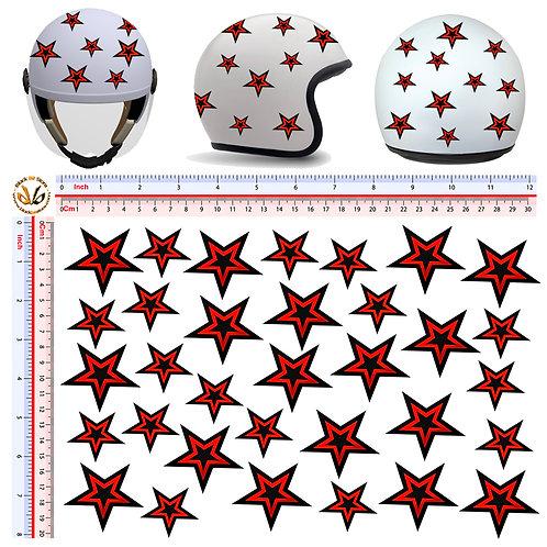 Adesivi casco Stelle Rosso nere