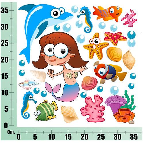 Kit Wall Stickers Sirene e Delfino 20 pezzi