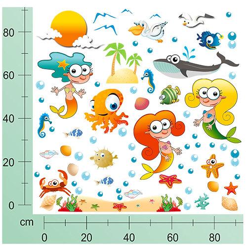 Kit Wall Stickers Sirene 50 pezzi