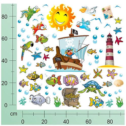 Kit Wall Stickers Nave Pirati 50 pezzi
