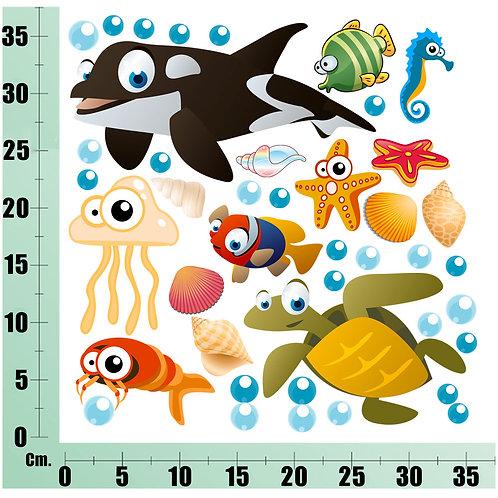 Kit Wall Stickers orca Tartaruga 20 pezzi