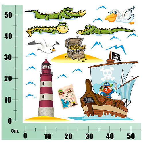 Kit Wall Stickers  nave pirata con faro 30 pezzi