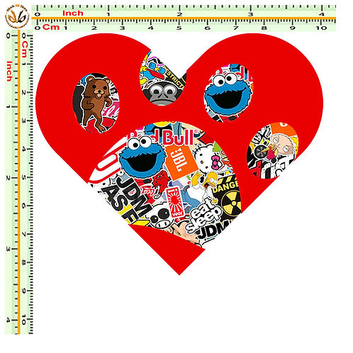 Adesivi cuore impronta dog Sticker bomb auto 1 Pz.