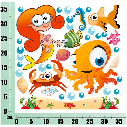 Kit Wall Stickers Sirena e Polipo 20 pezzi