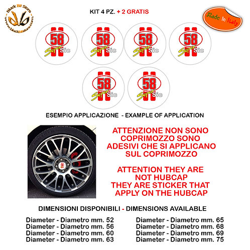 Adesivi coprimozzo Simoncelli Supersic 58 sticker for hubcap auto moto