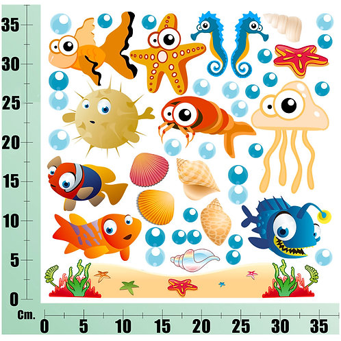Kit Wall Stickers pesci e conchiglie 20 pezzi