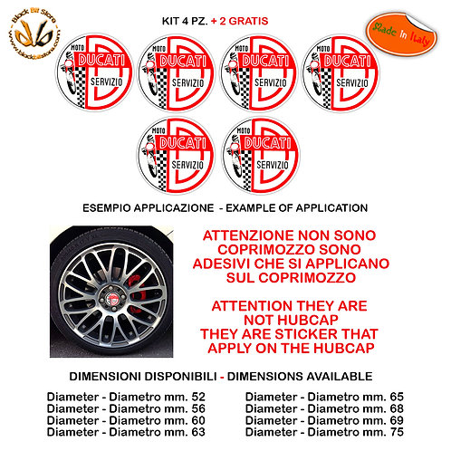 Adesivi coprimozzo ducati servizio sticker for hubcap auto moto