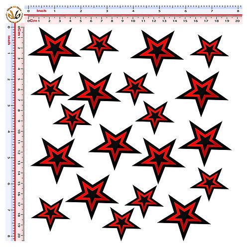 stelle rosso nere 20 adesivi