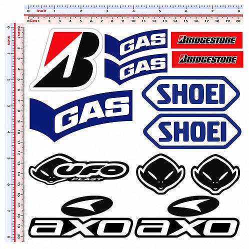 Adesivi sponsor Gas Bridgestone Ufo Shoei 11 pz.