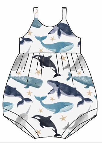 Watercolour Whales Bubble Romper