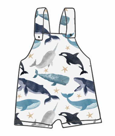 Watercolour Whales Short Dungarees