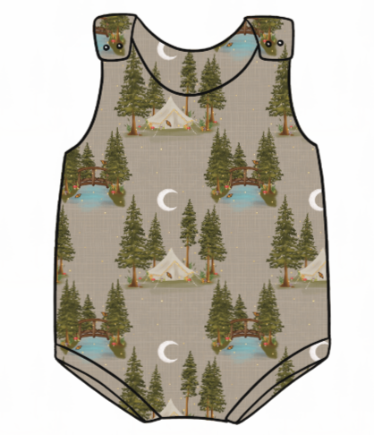 Lets Go Glamping Bummie Romper
