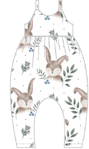 Forget Me Not Bunny Gathered Romper
