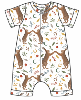Dancing Hares Rolled Hem Romper