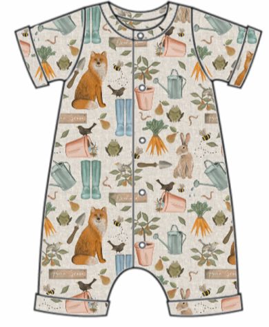 Down At The Bottom Of The Garden Rolled Hem Romper