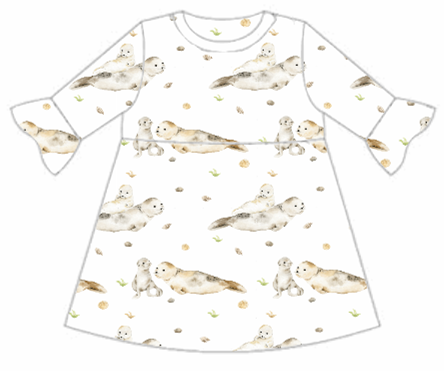 Seal & Pup Frill Sleeve Dress