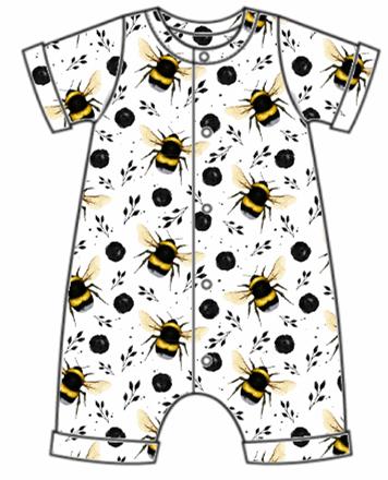 White Bee Rolled Hem Romper