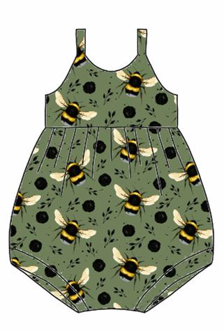Green Bee Bubble Romper