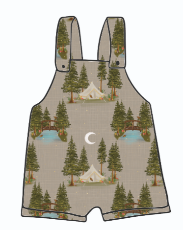 Lets Go Glamping Short Dungarees
