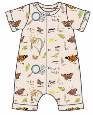 Butterfly Life Cycle Rolled Hem Romper