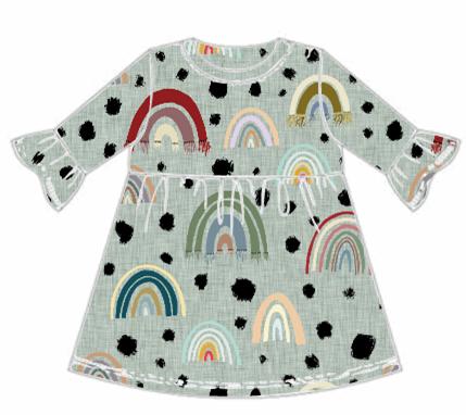 Rainbow Frill Sleeve Dress