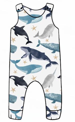 Watercolour Whales Harem Romper