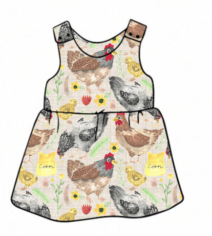 Lets Talk About Chickens Pinafore Dress
