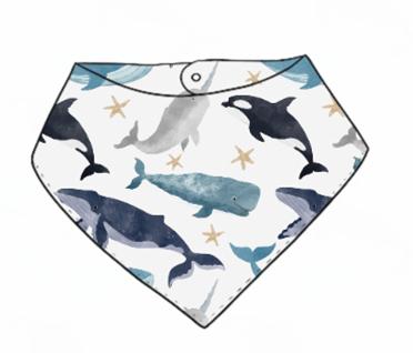 Watercolour Whales Bandana Bib