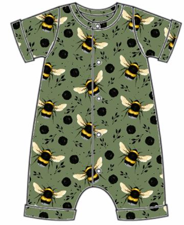 Green Bee Rolled Hem Romper