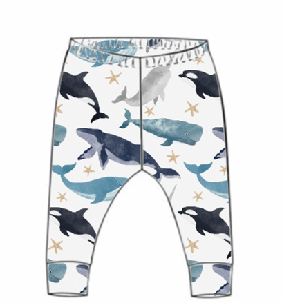Watercolour Whales Leggings (From 18-24m)
