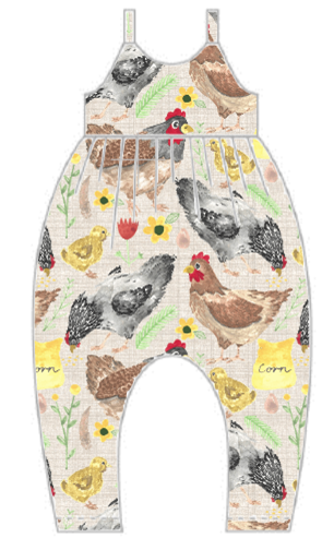 Lets Talk About Chickens Gathered Romper