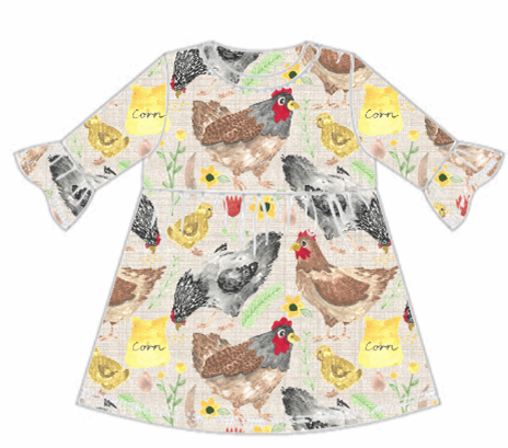 Lets Talk About Chickens Frill Sleeve Dress