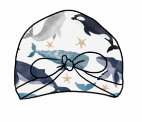 Watercolour Whales Turban