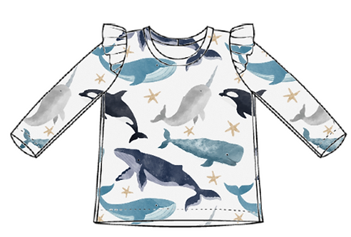Watercolour Whales Flutter Tee's