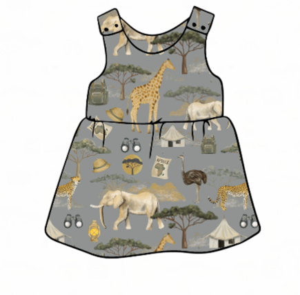 On Safari Pinafore Dress