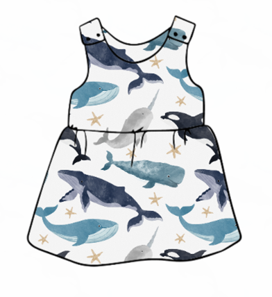 Watercolour Whale Pinafore Dress