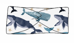 Watercolour Whales Twist Headband