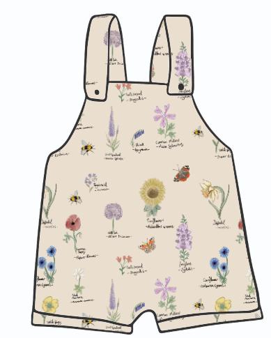 Botanical Flowers Short Dungarees