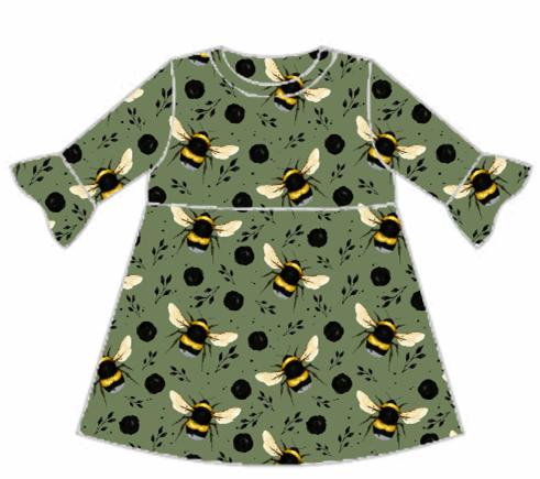Green Bee Frill Sleeve Dress