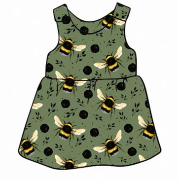 Green Bee Pinafore Dress