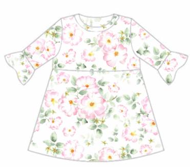 Wild Rose Frill Sleeve Dress