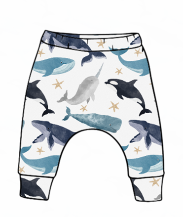 Watercolour Whales Harem Leggings