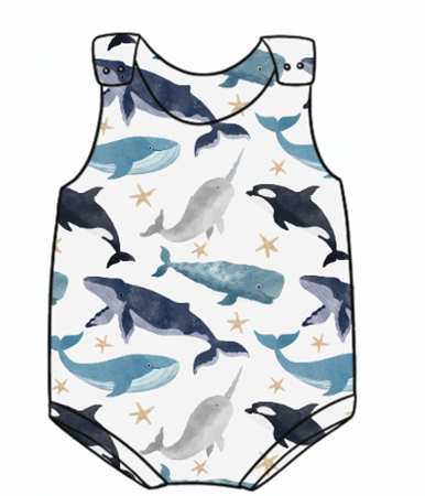 Watercolour Whales Bummie Romper