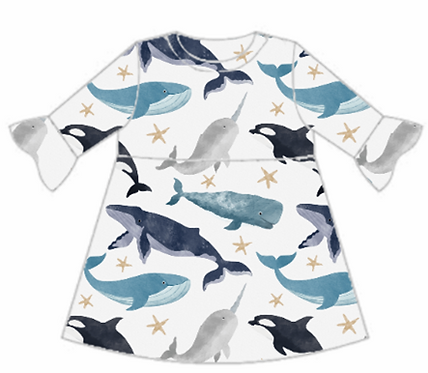 Watercolour Whales Frill Sleeve Dress