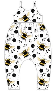 White Bee Gathered Romper