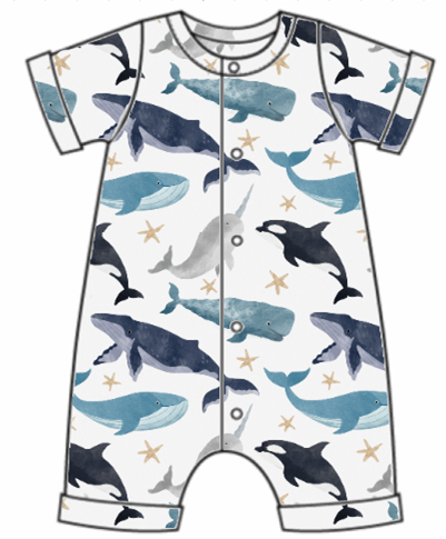 Watercolour Whales Rolled Hem Romper